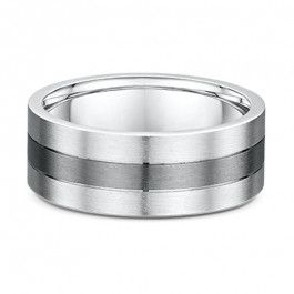 Dora 9ct and Titanium central grooved European Men's wedding ring  - Dora 4332000-A13179