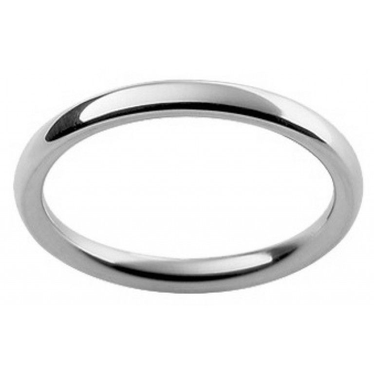 Ladies 18ct white gold fully rounded wedding ring 2mm wide and 2mm deep