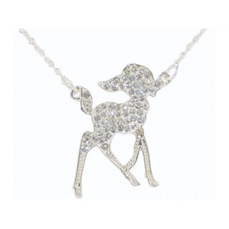Disney Couture Silver Plated Bambi Necklace